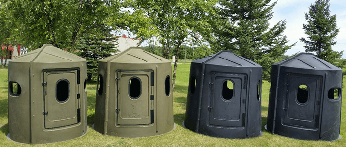 Maverick 5 and 6 Shooter Deer Hunting Blinds in Green and Black with the New Support Ribs