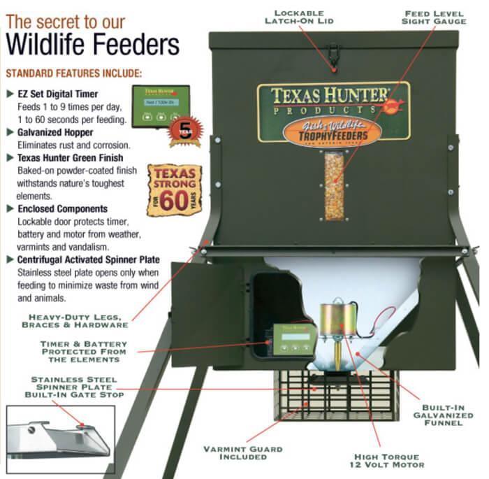 300 Lb Trophy Deer Feeder With 4 Foot Legs By Texas Hunter
