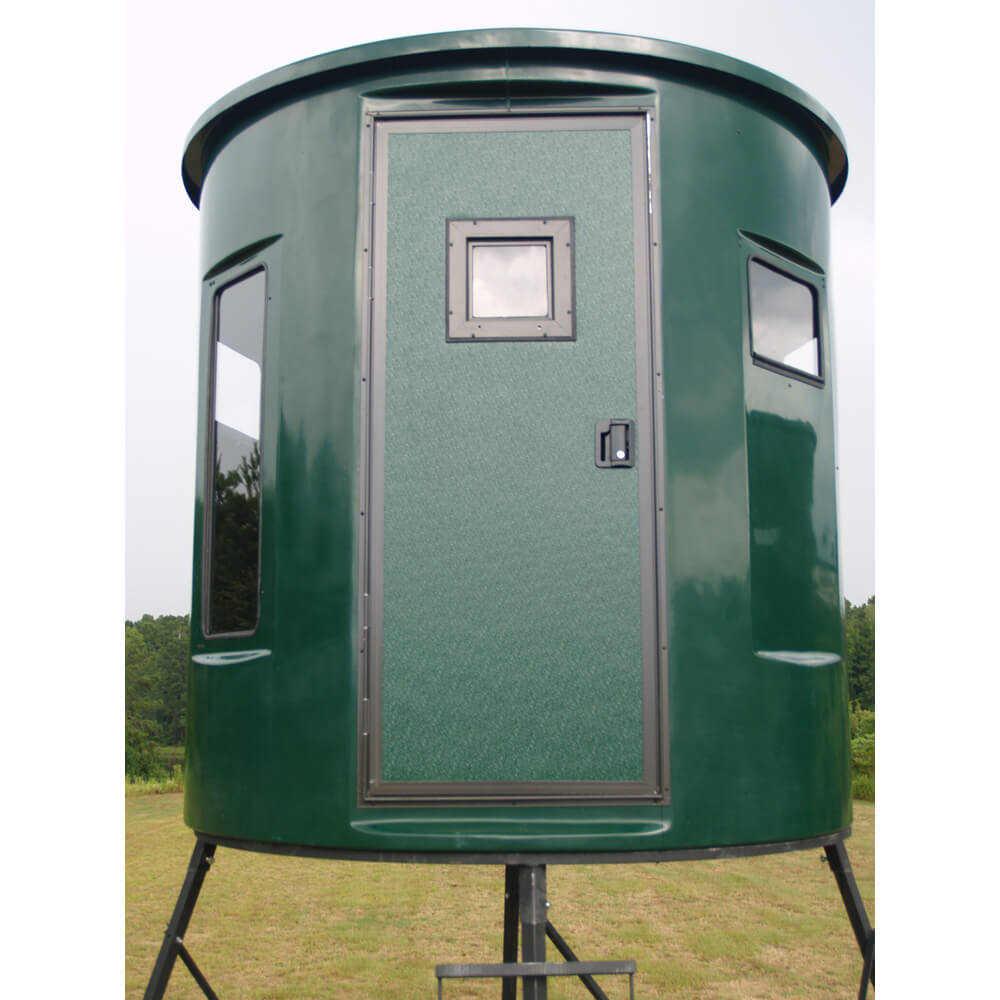 of a ft blind gun closeup and underside tower hunting xtreme fiberglass from handrails blinds diameter deer the stands side top tap realbark expand to showing