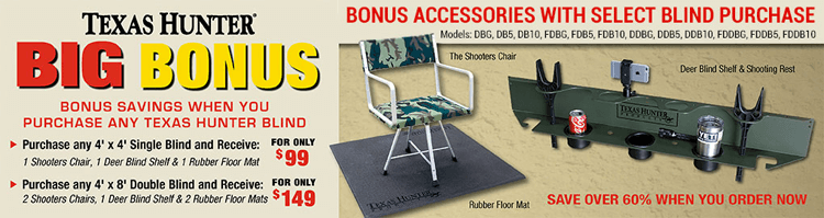 Texas Hunter Products $99 or $149 Accessory Bundle: Shooters Chairs, Floor Mats and Deer Blind Shelfs